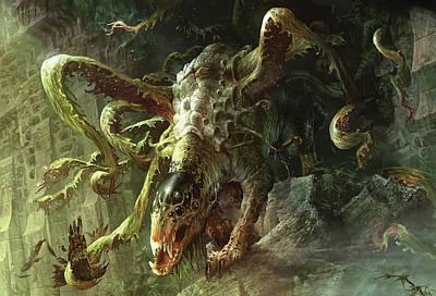 Maze Digital Art - Thrashing Mossdog by Ryan Barger