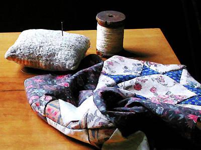 Quilts Photograph - Thread Pincushion And Cloth by Susan Savad
