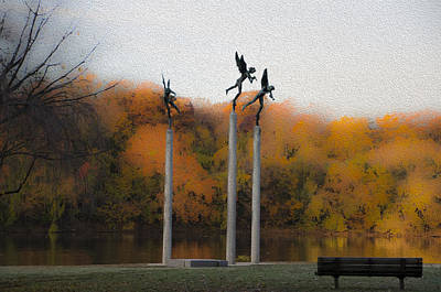 Three Angels Along The Schuylkill Print by Bill Cannon