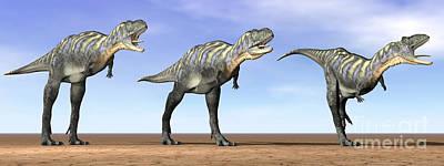 Anger Digital Art - Three Aucasaurus Dinosaurs Standing by Elena Duvernay
