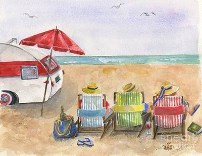 Summer Fun Painting - Three Beach Camping Amigos by Sheryl Heatherly Hawkins