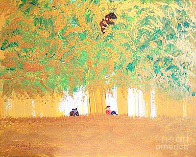 Barking Painting - Three Bears 1 by Richard W Linford