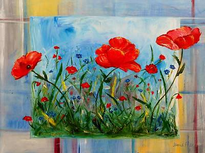 Free Form Painting - Three Big Poppies by Jamie Frier