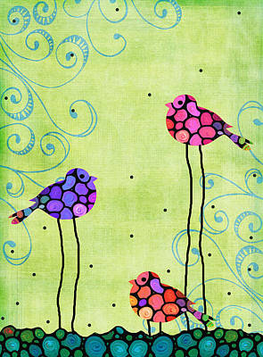Three Birds - Spring Art By Sharon Cummings Print by Sharon Cummings