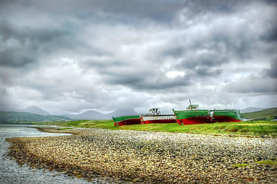 Images Of Cats Photograph - Three Boats by Kim Shatwell-Irishphotographer
