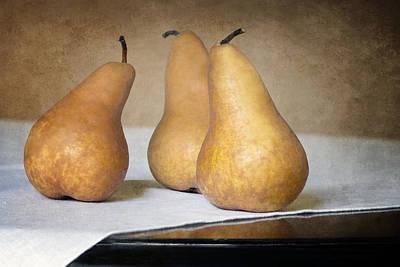 Trio Photograph - Three Bosc Pears - Traditional Still Life by Nikolyn McDonald