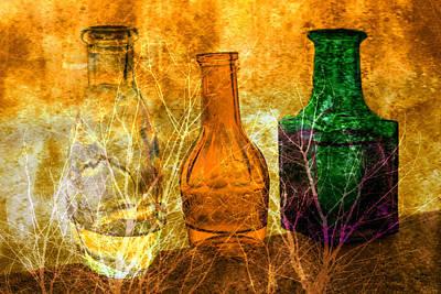 Three Bottles On Canvas Original by Toppart Sweden