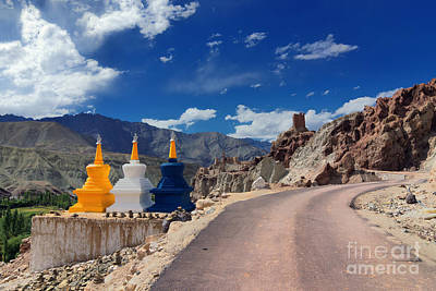 Three Buddhist Stupas At Leh Ladakh Jammu And Kashmir India Print by Rudra Narayan  Mitra