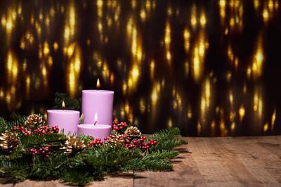 Fir Trees Photograph - Three Candles In An Advent Flower Arrangement by Ulrich Schade