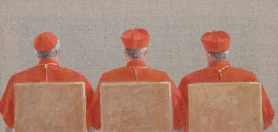 Three Cardinals, 2010 Acrylic On Canvas Print by Lincoln Seligman