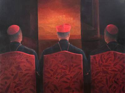Cardinal Photograph - Three Cardinals, 2012 Acrylic On Canvas by Lincoln Seligman