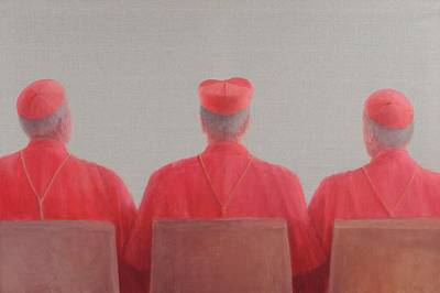 Cardinal Photograph - Three Cardinals II, 2012 Acrylic On Canvas by Lincoln Seligman