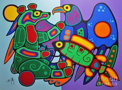 Three Clans Meet Print by Jim Oskineegish