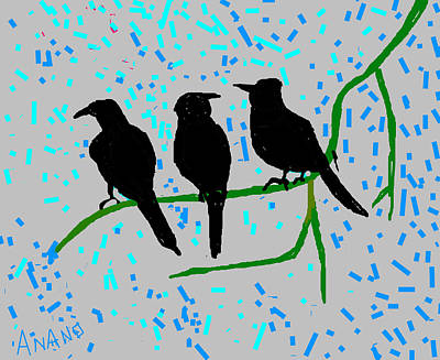 Three Crows Print by Anand Swaroop Manchiraju