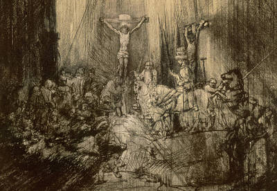 Verse Drawing - Three Crucifixes by Rembrandt Harmenszoon van Rijn