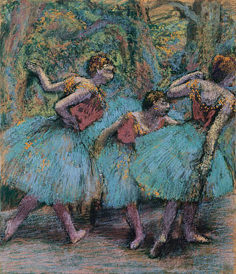 Blue And Red Painting - Three Dancers.blue Tutus Red Bodices by Edgar Degas