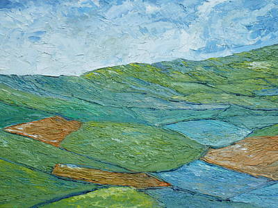 Quilt Painting - Three Fields Of Barley by Conor Murphy