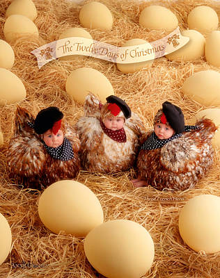 Egg Print featuring the photograph Three French Hens by Anne Geddes