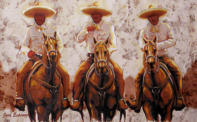Folkloric Painting - Three Friends by Jose Espinoza