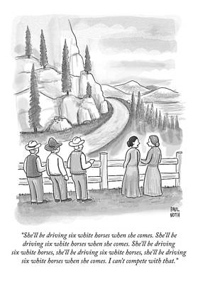 Three Frontiersmen And Two Women Watch A Mountain Print by Paul Noth