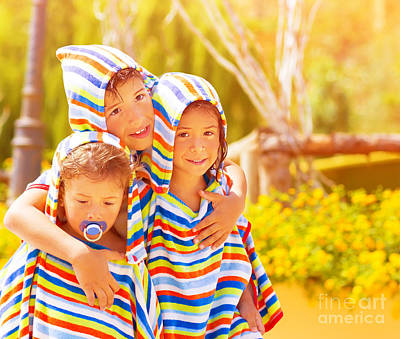 Three Funny Child Print by Anna Omelchenko