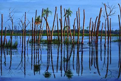 Swamp Painting - Three Gators by AnnaJo Vahle