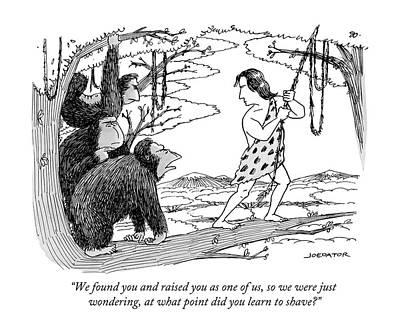 Gorilla Drawing - Three Gorillas Talk To Tarzan by Joe Dator