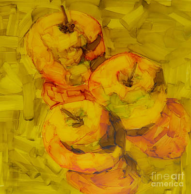 Colorful Abstract Drawing - Three Green Apples Modern Art by Patricia Awapara