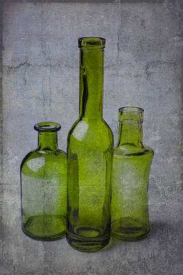 Three Green Bottles Print by Garry Gay