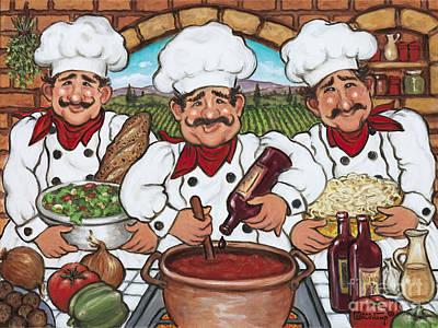Three Happy Chefs Print by Janet  Kruskamp