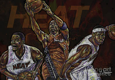Nba Drawing - Three Headed Monster by Maria Arango