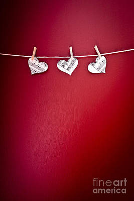Clothes Pins Photograph - Three Hearts by Jan Bickerton