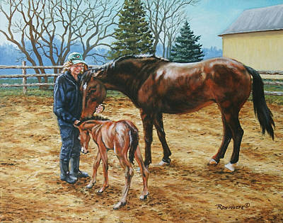 Horse Painting - Three Hearts by Richard De Wolfe