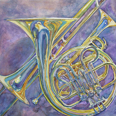 Trombone Painting - Three Horns by Jenny Armitage