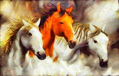 Abstract Painting - Three Horses by George Rossidis