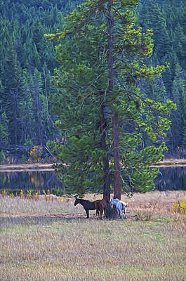 Autumn Scenes Mixed Media - Three Horses Under A Pine Tree Digital Oil Painting by Sharon Talson