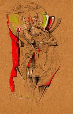 Three Housewife Print by Ertan Aktas