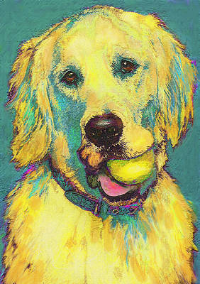 Pet Portraits Digital Art - Three Hundred Fiftyfourth Retrieve by Jane Schnetlage
