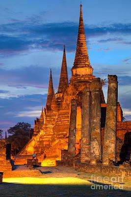 Three Illuminated Pagodas Thailand Print by Fototrav Print