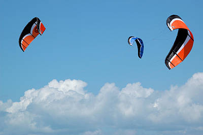 Kite Boarding Photograph - Three Kite Boarding Kites At The 2007 Barmouth Kite Festival by Rob Huntley