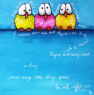Whimsical Painting - Three Little Birds by Lucia Stewart