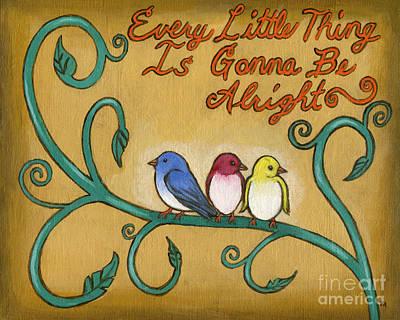 Roz Barron Abellera Painting - Three Little Birds by Roz Abellera Art