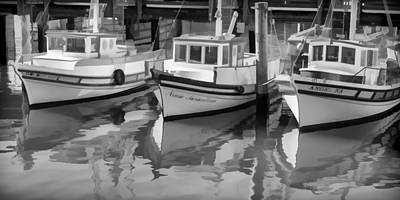 Row Boat Digital Art - Three Little Boats Black And White by Scott Campbell