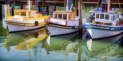 In A Row Digital Art - Three Little Boats by Scott Campbell