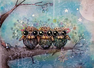 Three Sisters Digital Art - Three Little Night Owls by Karin Taylor
