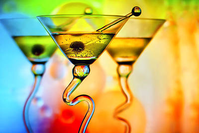 Three Martinis With Colorful Background Print by Judy Kennamer
