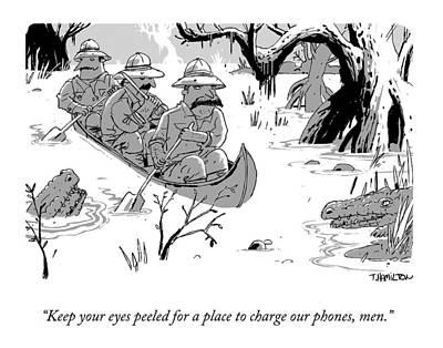 Alligator Drawing - Three Men On Safari Paddle Down An Alligator by Tim Hamilton