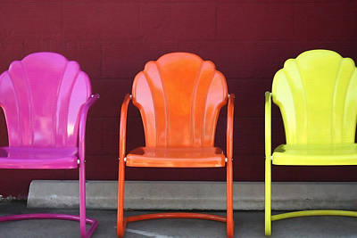 Three Metal Chairs Print by Art Block Collections
