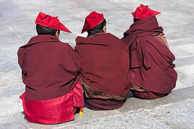 Monks Photograph - Three Monks by Hitendra SINKAR