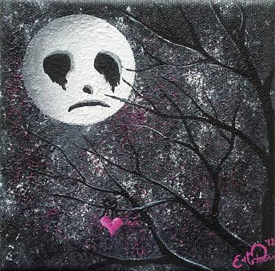 Three Moons Series - Man In The Moon Original by Oddball Art Co by Lizzy Love